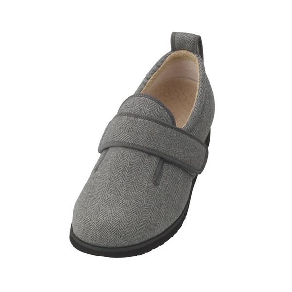 介護靴 施設・院内用 ダブルマジック2ヘリンボン 5E(ワイドサイズ) 7023 片足 徳武産業 あゆみシリーズ /3L (25.0~25.5cm) グレー 左足f00