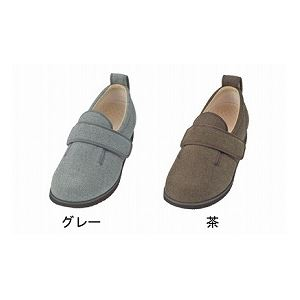 介護靴 施設・院内用 ダブルマジック2ヘリンボン 5E(ワイドサイズ) 7023 片足 徳武産業 あゆみシリーズ /3L (25.0~25.5cm) グレー 左足 h02