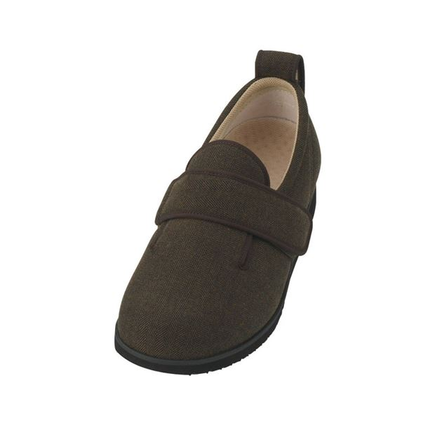 介護靴 施設・院内用 ダブルマジック2ヘリンボン 7E(ワイドサイズ) 7024 片足 徳武産業 あゆみシリーズ /3L (25.0~25.5cm) 茶 左足f00