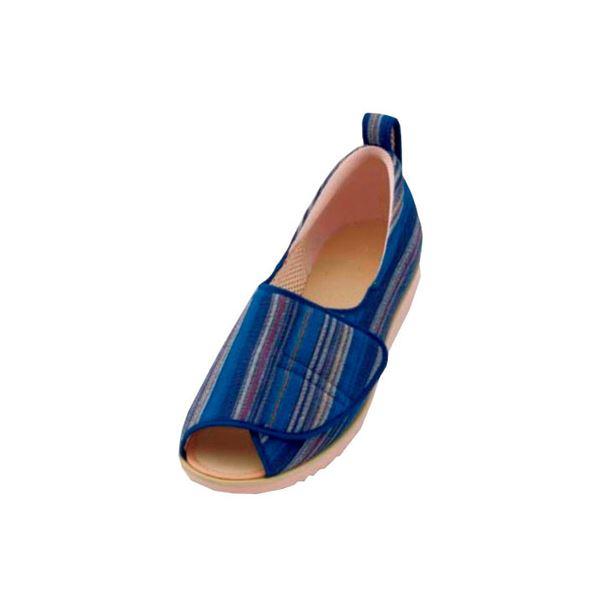 介護靴 施設・院内用 オープン和(なごみ) 1026 両足 徳武産業 あゆみシリーズ /L (23.0~23.5cm) 青(縞)f00