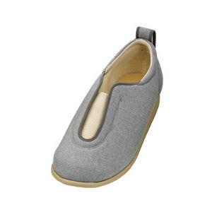 介護靴 施設・院内用 センターゴム2 1023 片足 徳武産業 あゆみシリーズ /3L (25.0~25.5cm) グレー 右足 h01