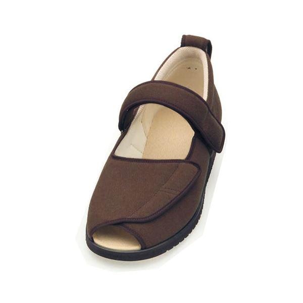 介護靴 施設・院内用 オープンマジック2 7E(ワイドサイズ) 7010 片足 徳武産業 あゆみシリーズ /LL (24.0~24.5cm) ブラウン 左足f00