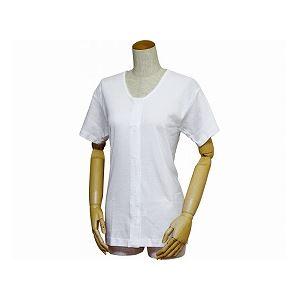 ウエル 婦人前開き三分袖シャツ(ワンタッチテープ式) /43253 白 5L h01