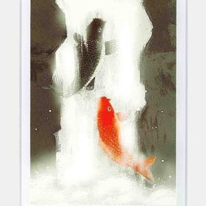 吉岡浩太郎『開運』風水額(スタンド付) 「夫婦滝昇り鯉」