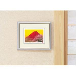 吉岡浩太郎シルク『吉祥』版画額(インチ)「桜赤富士」 8114