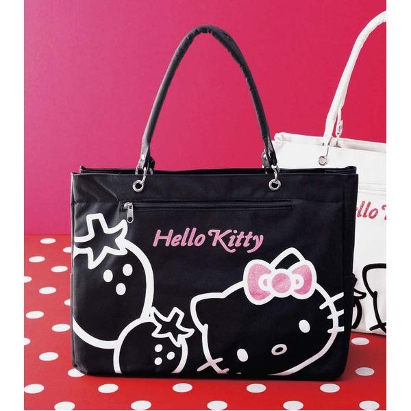 HeLLo Kitty ハローキティ ストロベリートートバッグ/鞄 【マチ・ポケット付き】 ブラック(黒)f00