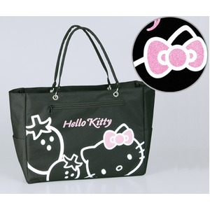 HeLLo Kitty ハローキティ ストロベリートートバッグ/鞄 【マチ・ポケット付き】 ブラック(黒) h02