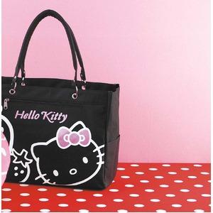 HeLLo Kitty ハローキティ ストロベリートートバッグ/鞄 【マチ・ポケット付き】 ブラック(黒) f04