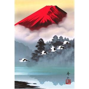 掛け軸 【鈴村秀山 赤富士飛翔 B】 長さ約895mm 画寸/360×245mm 化粧箱入り 日本製