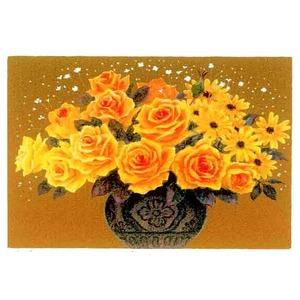 『花』風水額/シルク版画 【吉岡浩太郎 黄色い花】 吊りひも付き 日本製