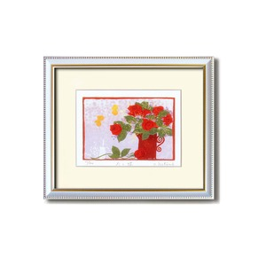 『花』風水額/シルク版画 【吉岡浩太郎 赤い花】 吊りひも付き 日本製