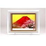 フォトフレーム/写真立て 【ハガキサイズ 150×105mm対応】 吉岡浩太郎クリスタル絵画 「赤富士桜」 日本製