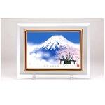 フォトフレーム/写真立て 【ハガキサイズ 150×105mm対応】 吉岡浩太郎クリスタル絵画 「白富士桜」 日本製
