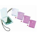 【紫外線対策】 携帯ミニコンパクトミラー 【10個セット】 UVセンサー/ストラップ付き 日本製