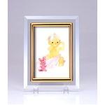 クリスタルフォトフレーム/写真立て 【ハガキサイズ 150×105mm対応】 いわさきちひろ 「ピンクのウサギと赤ちゃん」