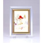 クリスタルフォトフレーム/写真立て 【ハガキサイズ 150×105mm対応】 いわさきちひろ 「貝殻と赤い帽子の少女」