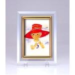 クリスタルフォトフレーム/写真立て 【ハガキサイズ 150×105mm対応】 いわさきちひろ 「赤い帽子(縦)」