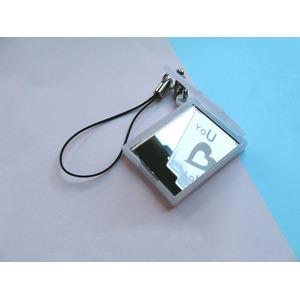 【紫外線対策】 恋する乙女のミラー/コンパクトミラー 【2個セット】 UVセンサー/ストラップ付き 日本製