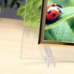 クリスタルトリプル曲フォトフレーム/時計付き写真立て 【L版=サービスサイズ対応】 ガラス製