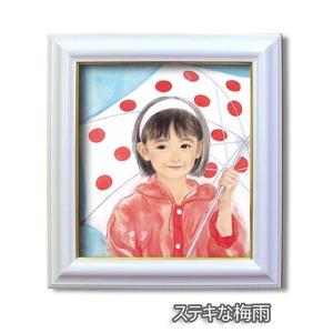 色紙額縁セット/白フレーム・金ライン 【352mm×322mm×27mm】 おおた慶文 「ステキな梅雨」 壁掛け用/ひも付き