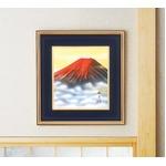 色紙額縁 【葛谷聖山 梅月 赤富士】 414×384×30mm 入れ替え可 日本製