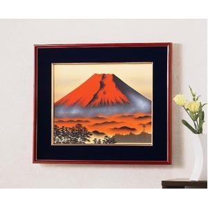 葛谷聖山(梅月)日本画額F6(春慶) 「赤富士」
