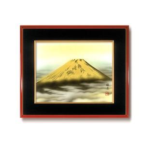 葛谷聖山(梅月)日本画額F6(春慶) 「金富士」