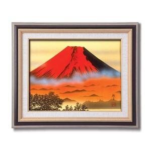 葛谷聖山(梅月)日本画額F6(黒) 「赤富士」