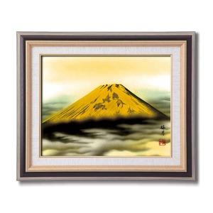 葛谷聖山(梅月)日本画額F6(黒) 「金富士」