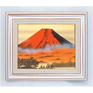 葛谷聖山(梅月)日本画額AS 「赤富士」