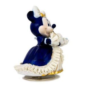 オルゴール/ディズニー陶製レース人形 ミニー 【バイオリン弾き ブルー】 磁器 径13.5×高さ15.5cm 日本製