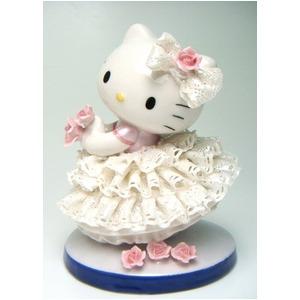 HeLLo Kitty ハローキティ レースドール/陶製人形 【ホワイト】 磁器 高さ14×ベース径11cm 日本製