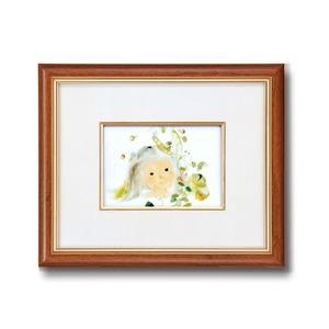 額縁/フレーム【インチ判ヨコ】いわさきちひろ「五粒のエンドウ豆」スタンド付き壁掛け可日本製