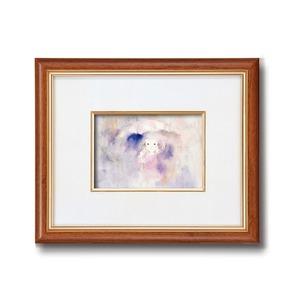 額縁/フレーム【インチ判ヨコ】いわさきちひろ「雨の中の少女」スタンド付き壁掛け可日本製