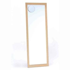 拡大鏡付きウォールミラー/全身姿見鏡【壁掛け用】木製フレーム壁掛けひも付きナチュラル日本製