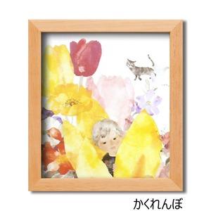 色紙273×243mm【いわさきちひろの世界】木製額 ■いわさきちひろ色紙額(小)「かくれんぼ」