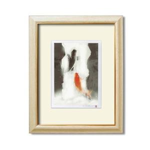 風水額縁 【太子サイズ/432×340×16mm】 吉岡浩太郎 「夫婦滝昇り鯉」 壁掛けひも付き 箱入り 日本製