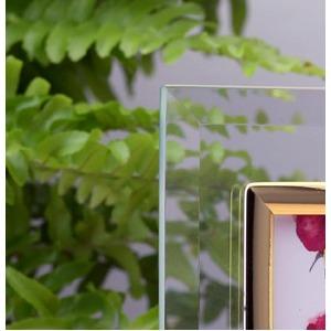 ウェーブ型ガラスフォトフレーム/4つ窓写真立て 【ミニサイズ×4枚対応】 化粧箱入り
