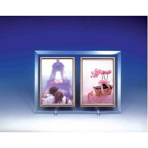 クリスタルWフォトフレーム/写真立てハガキ【ハガキサイズ対応】150×105mmクリスタルガラス使用日本製