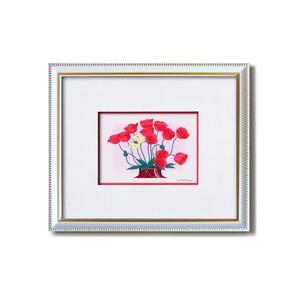 フラワーシルク版画額 【インチサイズ】 吉岡浩太郎 「赤いポピー」  日本製