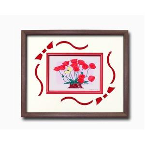 フラワーシルク版画額D 【インチサイズ】 吉岡浩太郎 「赤いポピー」  日本製