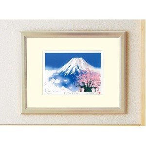 シルク版画/額付き 【大衣サイズ】 吉岡浩太郎 吉祥 「桜白富士」 壁掛け紐付き 箱入り 日本製