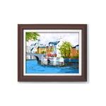 油絵額/木製フレームセット 【オンタケF6号】 黒沢久 「運河の風景」 433×525×50mm 化粧箱入り