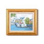 油絵額/フレームセット 【F6号】 黒沢久 「運河の風景」 460×552×55mm 金フレーム 化粧箱入り