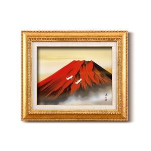 日本画額/金フレームセット 【F6号】 伊藤渓山 「赤富士」 460×552×55mm 化粧箱入り
