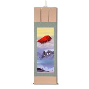 掛け軸【長さ約1884mm】鈴村秀山  掛軸 (尺五)「赤富士飛翔 」 桐箱入り 日本製