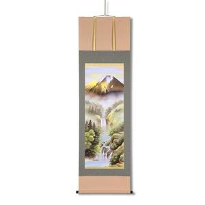 掛け軸 【長さ約1884mm】 宇田川彩悠 掛軸(尺五) 「飛翔金富士山水」 桐箱入り 日本製