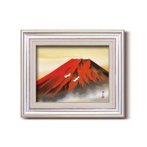 日本画額縁/フレームセット 【F6AS】伊藤渓山 「赤富士」 約477×571×59mm 壁掛けひも付き
