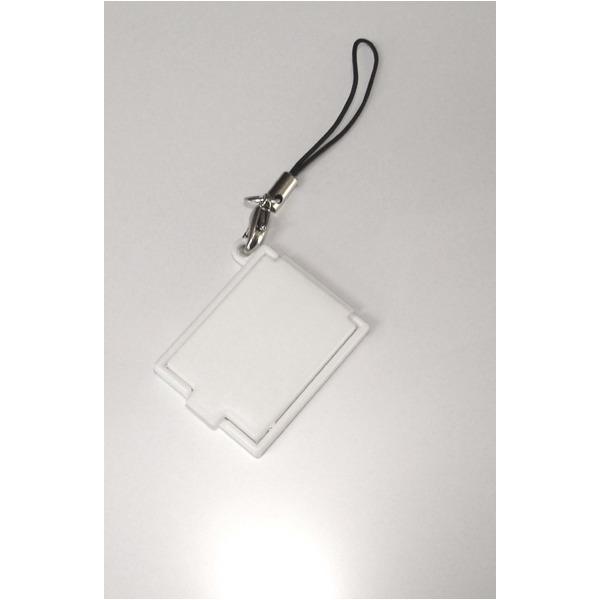 【化粧直しに最適!】携帯コンパクトミラー(ストラップ付) ホワイト【5個セット】/日本製f00