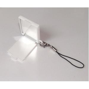 【化粧直しに最適!】携帯コンパクトミラー(ストラップ付) ホワイト【5個セット】/日本製 h02